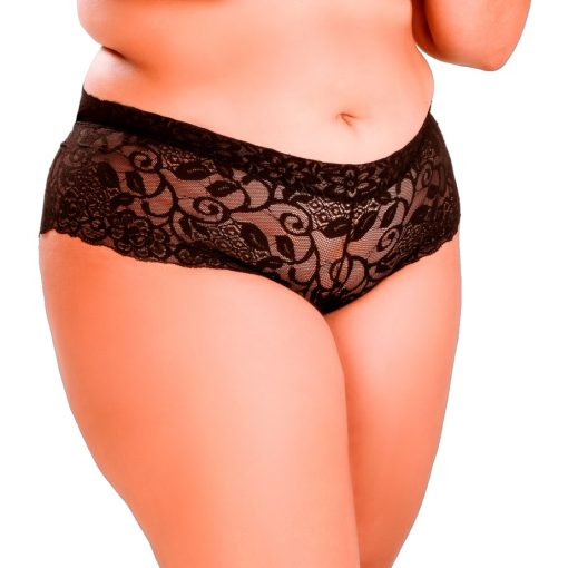 HG006P Boyshorts Delight Lace Black Plus Size by Hot Flowers