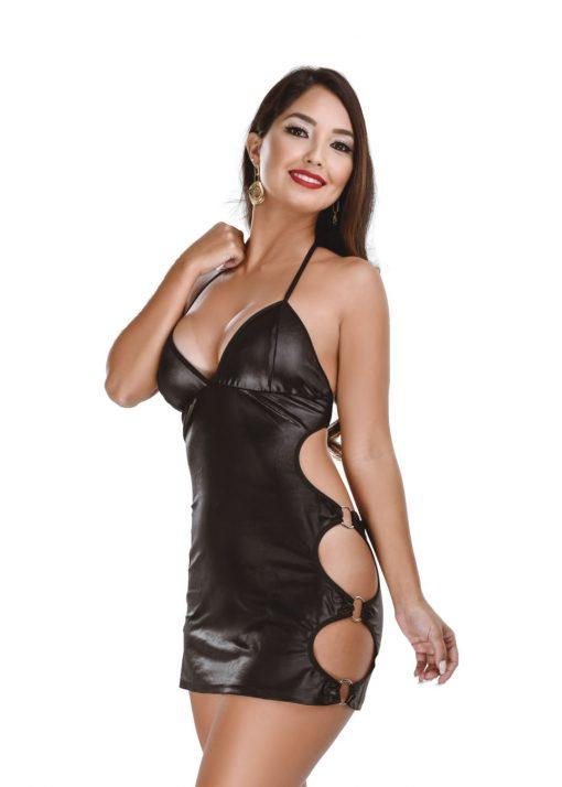 HF015P Bondage Dress Black by Hot Flowers