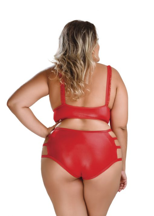 HF024V Bondage Set Top with Detachable Collar and Pants Red Plus Size
